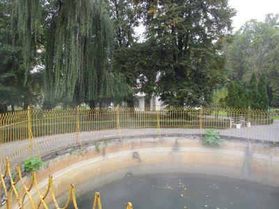 Ångan stiger ur Ivan-källan, den kallas för önskebrunn och finns i Julijev-parken, Daruvar.