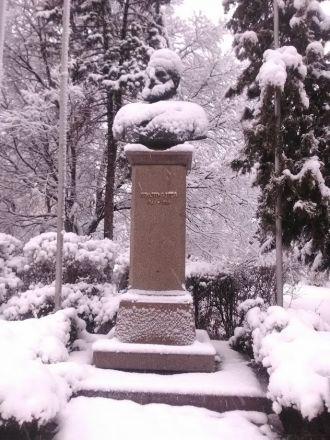 En översnöad Christo Botev, poet och frihetshjälte.