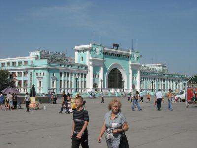 Järnvägsstationen i Novosibirsk, också den Rysslands största.